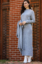 Load image into Gallery viewer, Women's Grey Grizzled Midi Dress & Cardigan Set