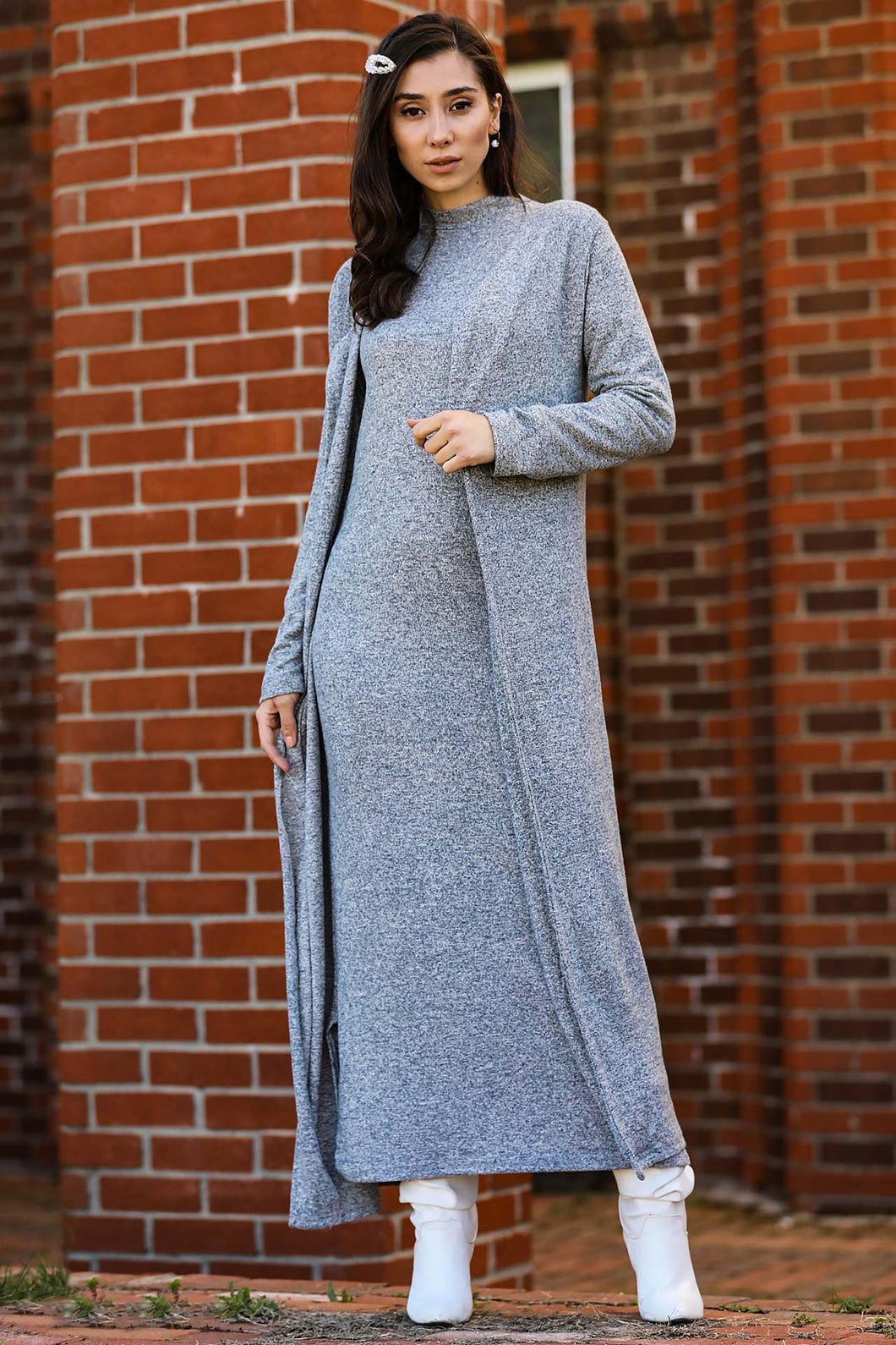 Women's Grey Grizzled Midi Dress & Cardigan Set