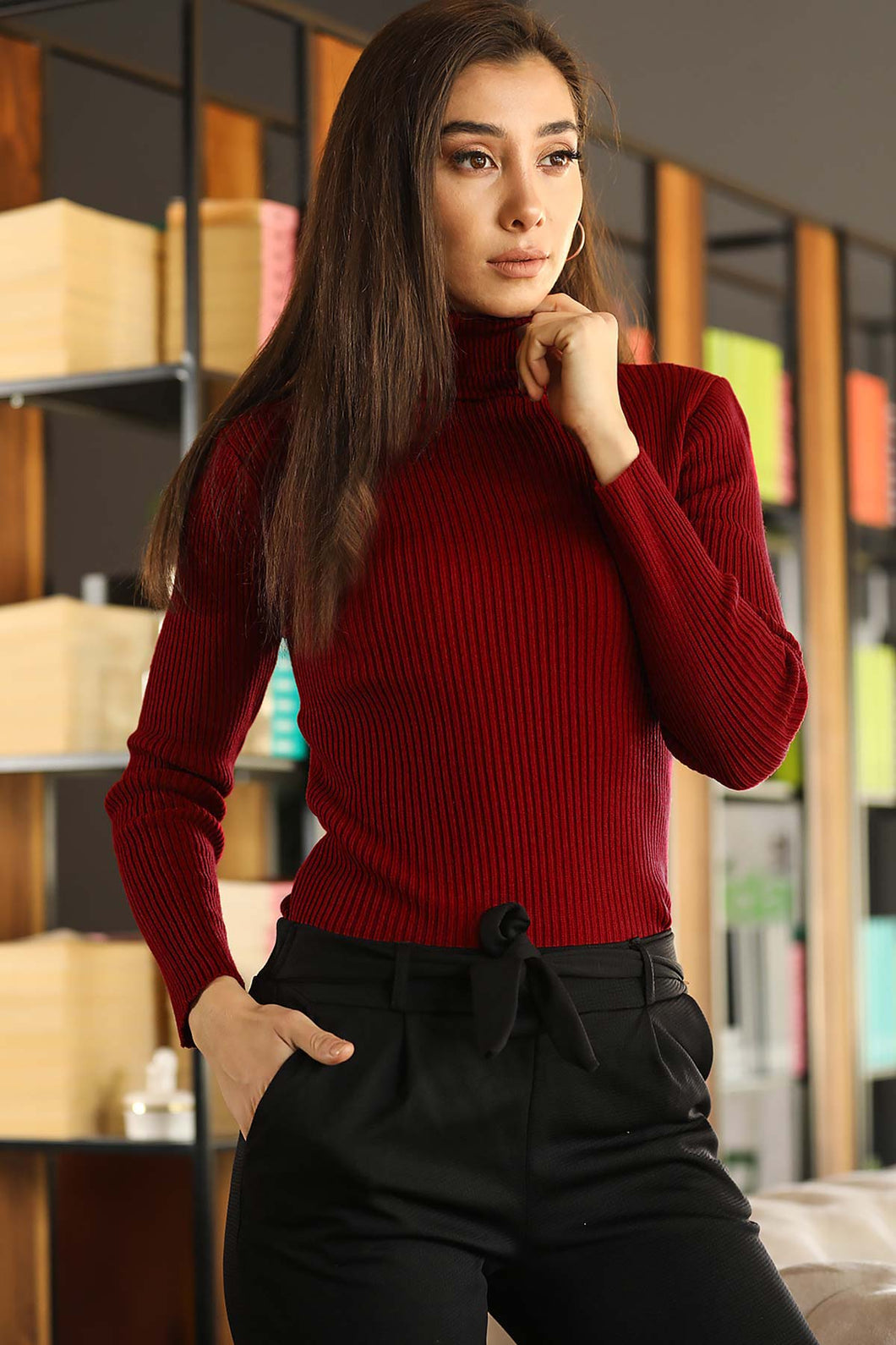 Women's Turtleneck Red Rib Tricot Sweater