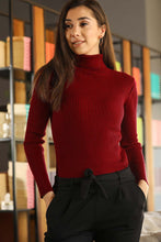 Load image into Gallery viewer, Women's Turtleneck Red Rib Tricot Sweater