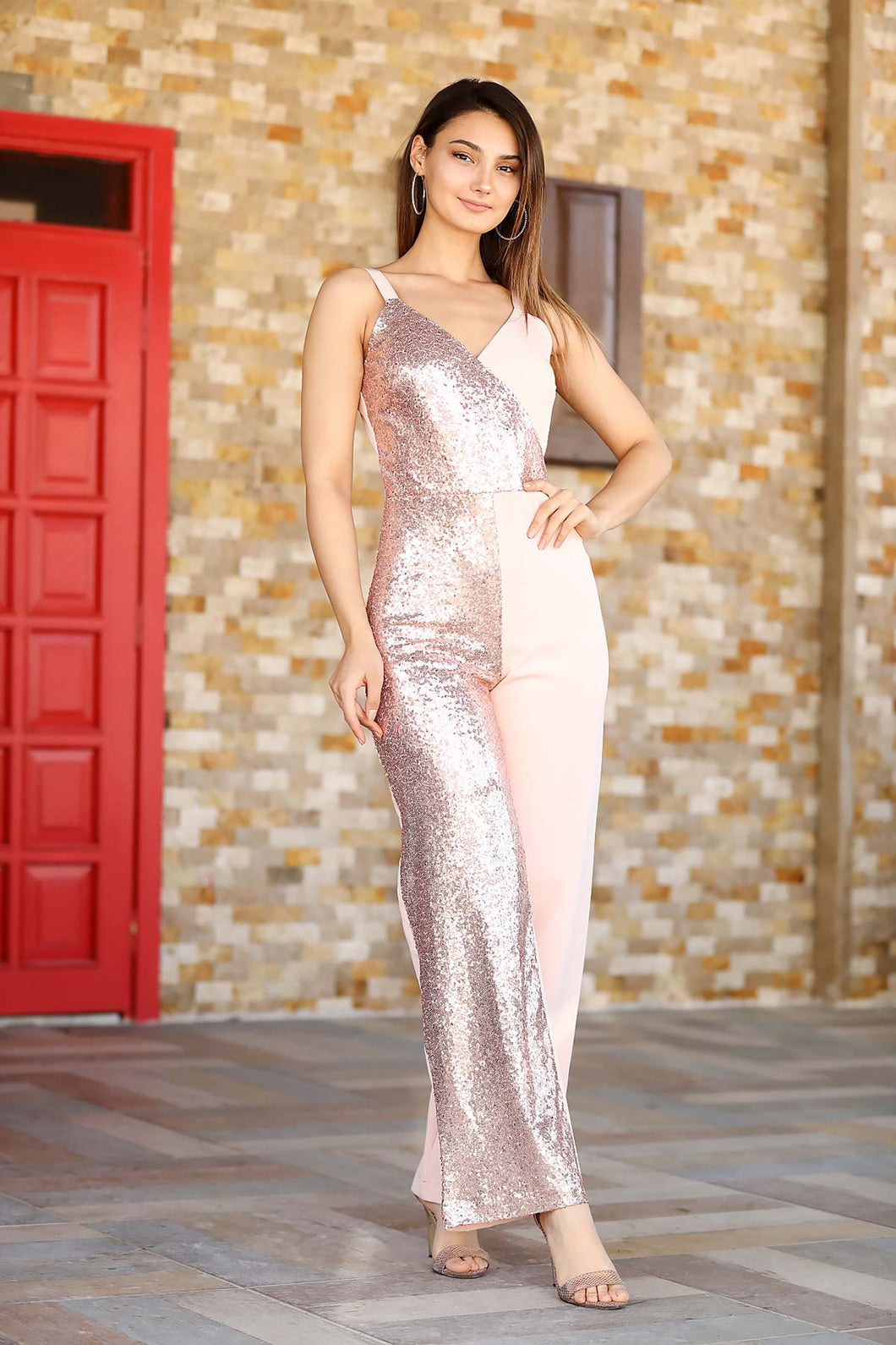 Women's Sequined Powder Rose Overalls