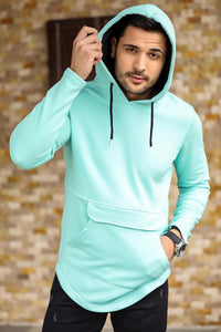Men's Hooded Kangaroo Pocket Mint Green Sweatshirt