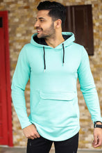 Load image into Gallery viewer, Men's Hooded Kangaroo Pocket Mint Green Sweatshirt