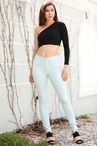 Women's High Waist Mint Green Pants