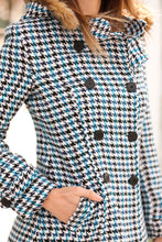 Load image into Gallery viewer, Women's Hooded Button Houndstooth Pattern Coat