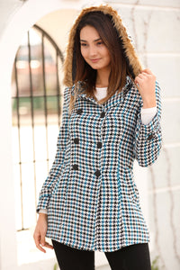 Women's Hooded Button Houndstooth Pattern Coat