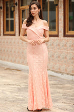 Load image into Gallery viewer, Women's Fish Model Powder Rose Lace Evening Dress