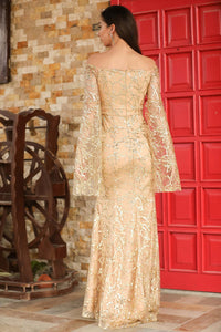 Women's Off Shoulders Glitter Beige Evening Dress