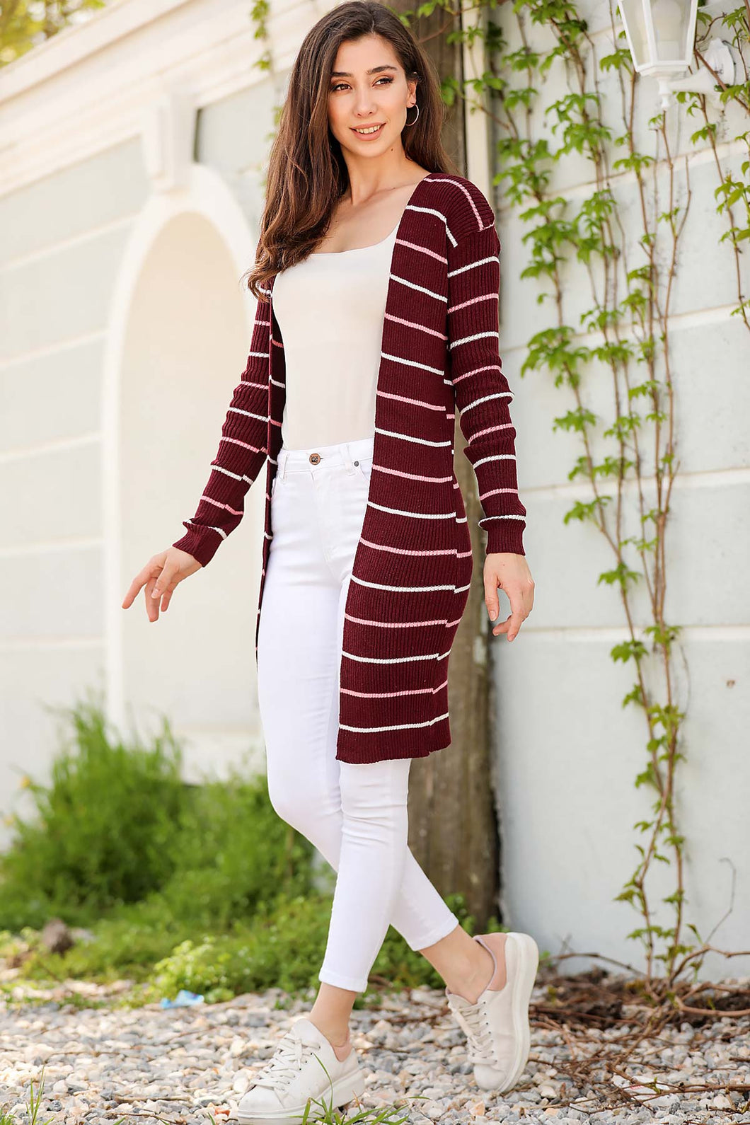 Women's Striped Claret Red Cardigan