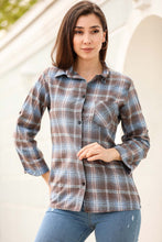 Load image into Gallery viewer, Women's Roll-up Sleeves Plaid Shirt