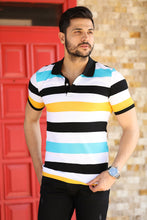 Load image into Gallery viewer, Striped Polo Neck T-Shirt
