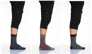 Men's Thin Striped Socket Socks- 3 Pairs