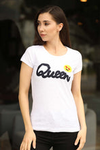 Load image into Gallery viewer, Women's Front Printed White T-shirt