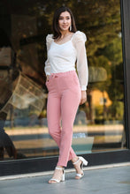 Load image into Gallery viewer, Women's Elastic Waist Powder Rose Pants
