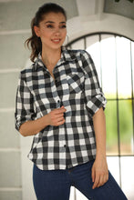 Load image into Gallery viewer, Women's Plaid Navy Blue Shirt