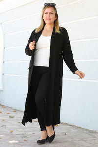 Oversize Crew Neck Black Cardigan&Jacket
