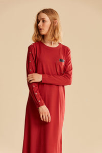 Women's Coral Combed Cotton Long Dress