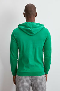 Men's Hooded Long Sleeves Pocket Emerald Green Sweatshirt