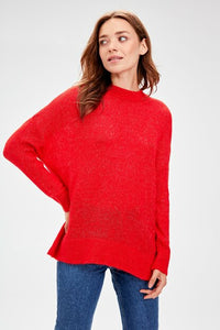 Women's Crew Neck Red Tricot Sweater
