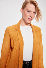 Load image into Gallery viewer, Women's Mustard Tricot Cardigan
