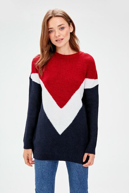 Women's Color Block Tricot Sweater