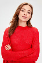 Load image into Gallery viewer, Women's Crew Neck Red Tricot Sweater