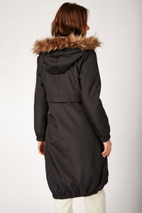 Women's Hooded Inner Furry Black Coat