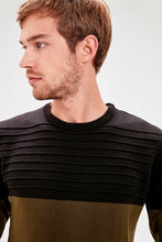 Load image into Gallery viewer, Men's Color Block Khaki Tricot Sweater