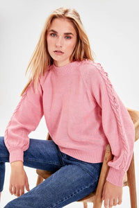 Women's Lace-up Sleeves Pink Tricot Sweater