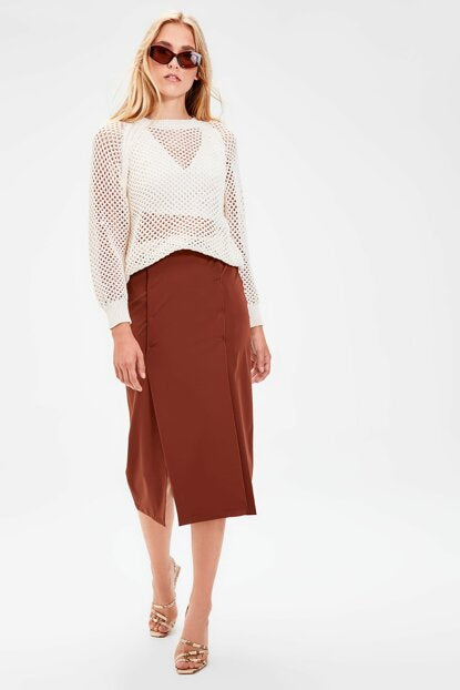 Women's Slit Brown Skirt