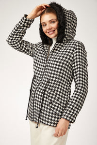 Women's Plaid Black & White Cachet Coat