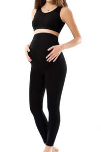 Women's Long Black Combed Cotton Maternity Tights