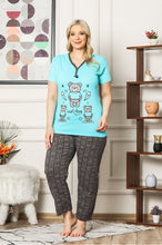 Load image into Gallery viewer, Women's Patterned Blue Pajama Set