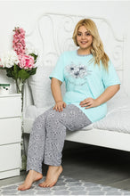 Load image into Gallery viewer, Women's Printed Blue Pajama Set