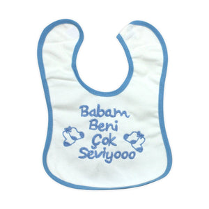 Baby's Printed Blue- White Bib