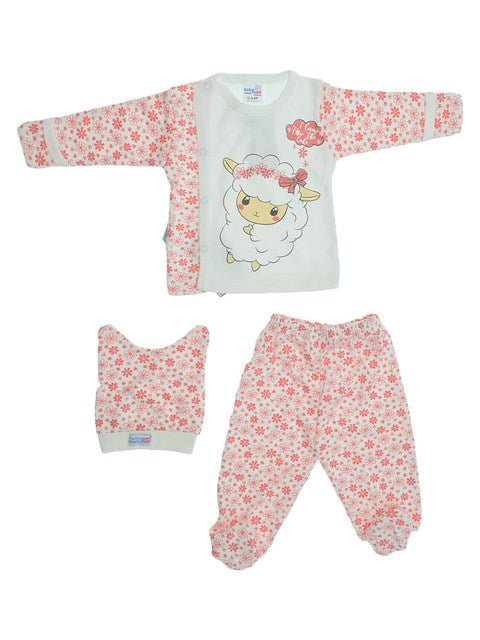 Baby Girl's Patterned Outfit Set- 3 Pieces