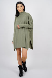 Women's Turtleneck Slit Green Poncho