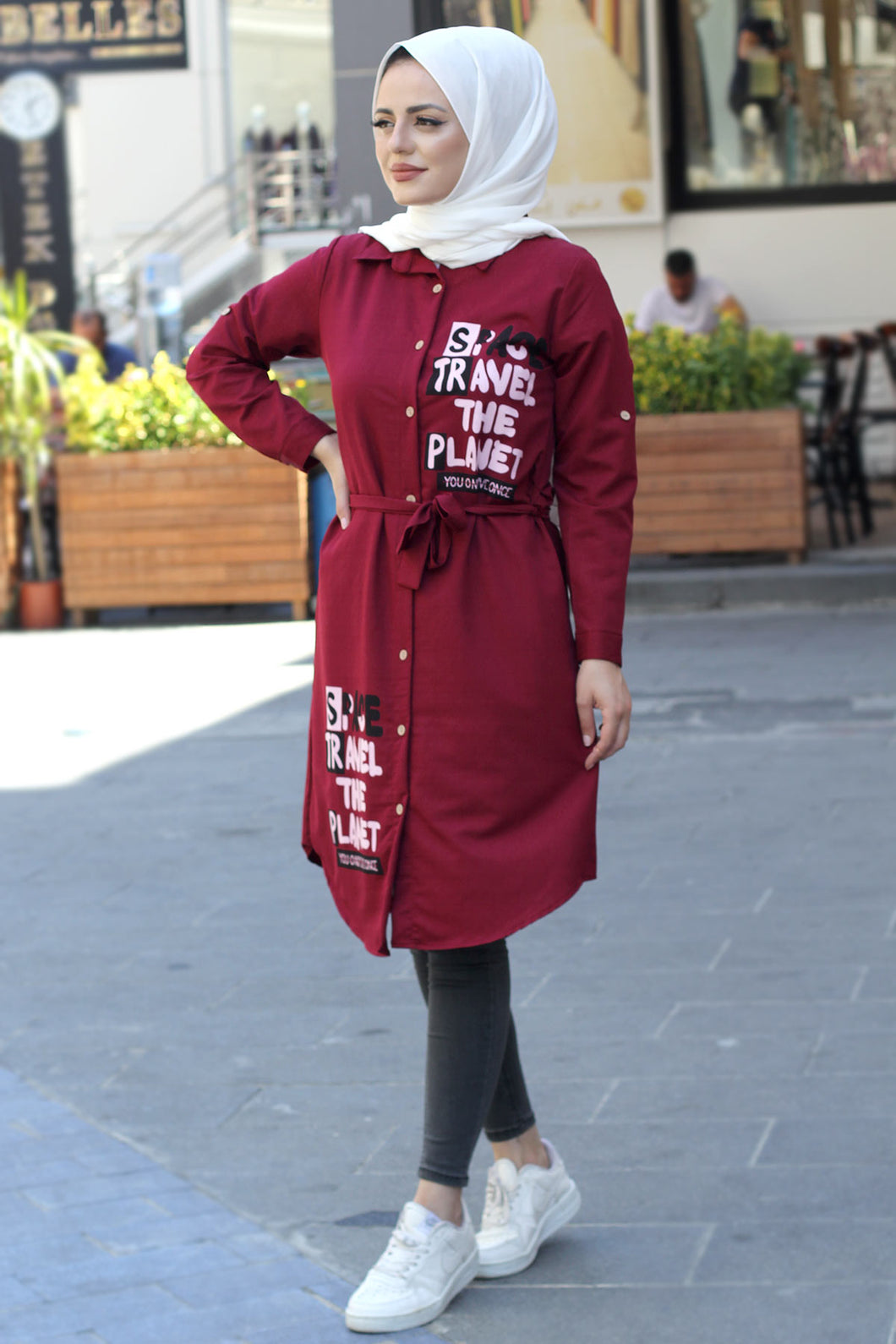 Women's Printed Claret Red Modest Tunic