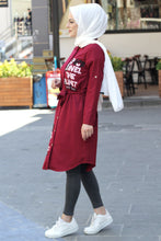Load image into Gallery viewer, Women's Printed Claret Red Modest Tunic