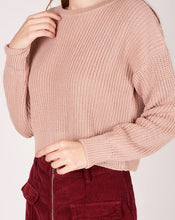 Load image into Gallery viewer, Women's Crew Neck Crop Tricot Sweater