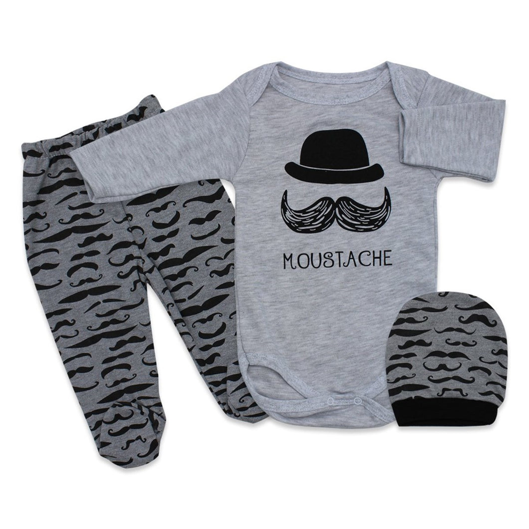 Baby Boy's Printed Grey 3 Pieces Outfit Set