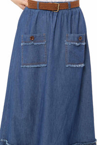 Women's Pocket Detail Dark Blue Denim Long Skirt