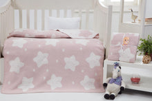 Load image into Gallery viewer, Baby's Star Pattern Light Powder Rose Cotton Blanket