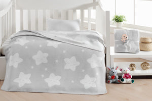 Baby's Star Pattern Light Grey Cotton Blanket