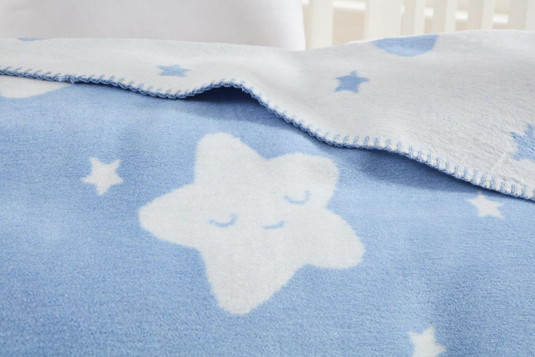 Baby's Star Pattern Light Blue Cotton Blanket