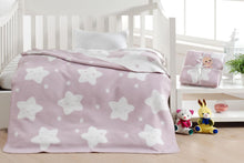 Load image into Gallery viewer, Baby's Star Pattern Light Damson Cotton Blanket
