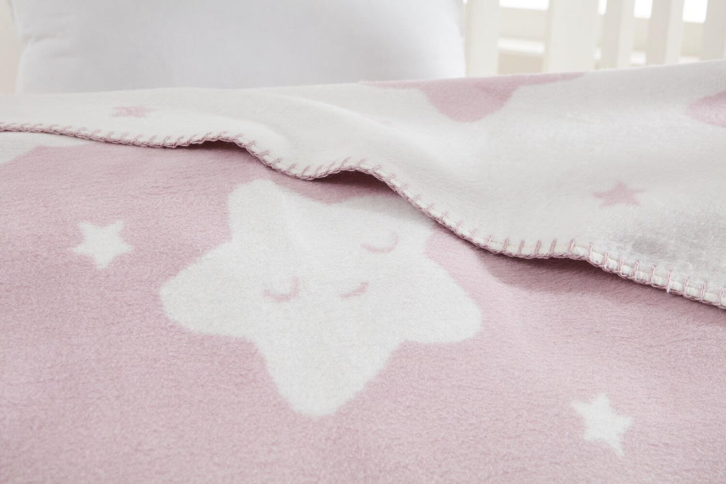 Baby's Star Pattern Light Damson Cotton Blanket