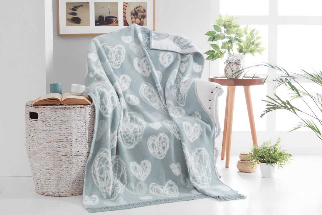 Heart Pattern Mint Green Cotton TV Blanket- 127x155 cm