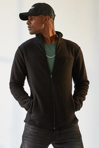 Men's Zipped Black Polar Fleece Sweatshirt