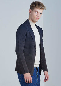 Men's Striped Navy Blue Wool Tricot Jacket